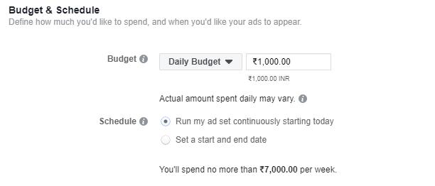 facebook budget planning