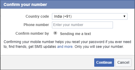 mobile number in facebook account